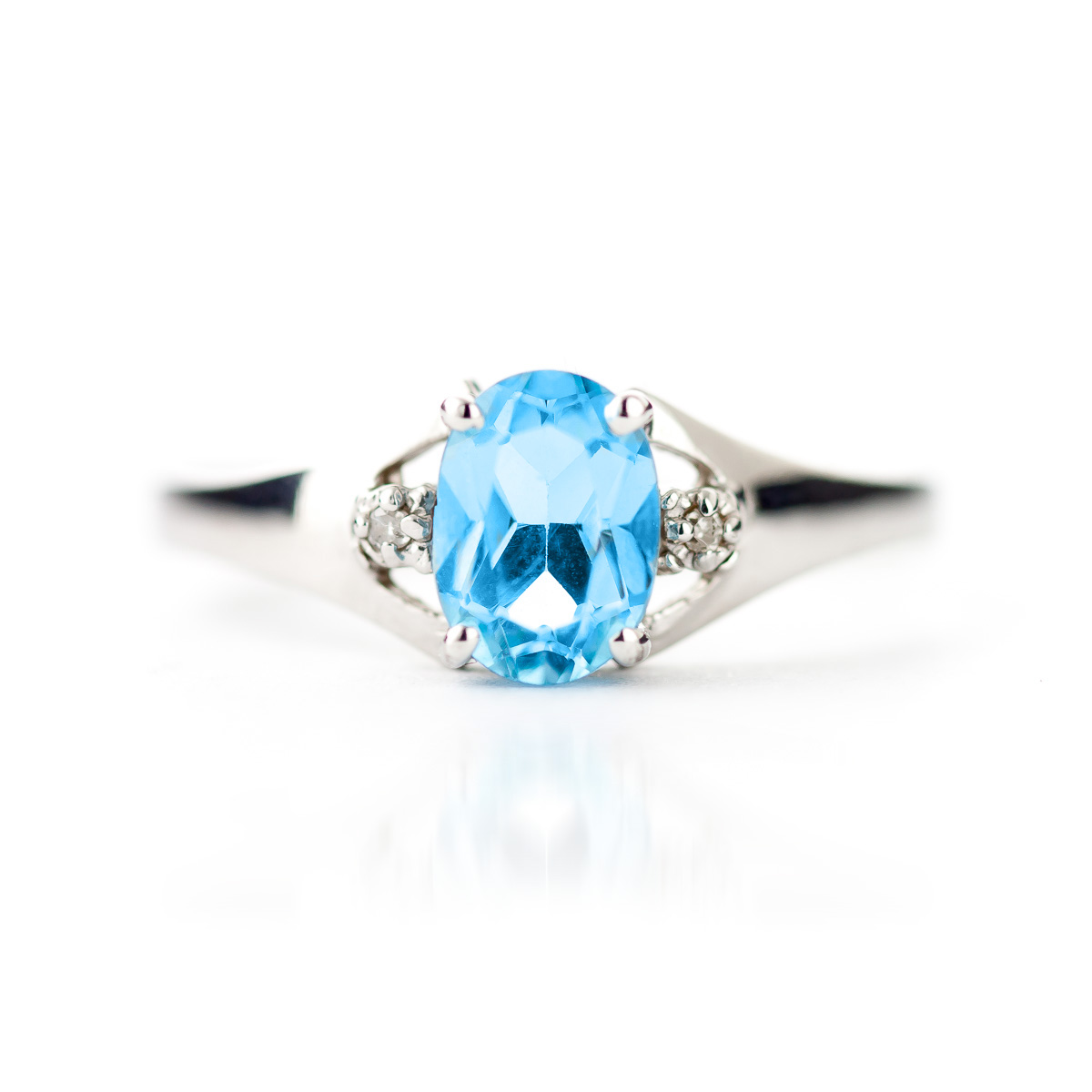 Blue Topaz and Diamond Desire Ring 0.75ct in 14K White Gold