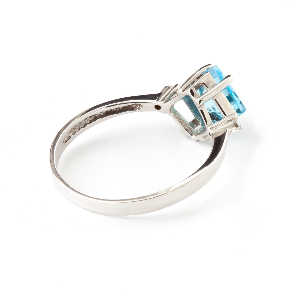 Blue Topaz and Diamond Ring 1.75ct in 14K White Gold