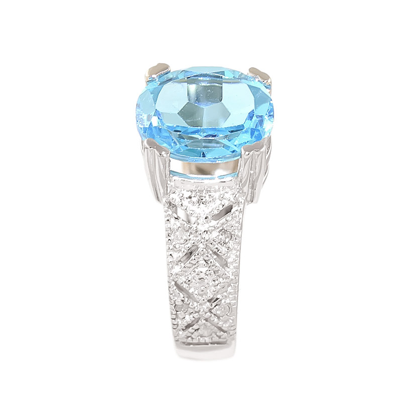 Blue Topaz and Diamond Renaissance Ring 3.0ct in 9ct White Gold