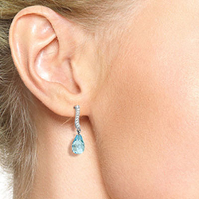 Blue Topaz and Diamond Droplet Earrings 4.5ctw in 9ct White Gold