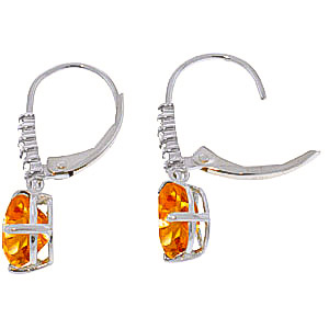 Citrine and Diamond Belle Drop Earrings 3.0ctw in 9ct White Gold