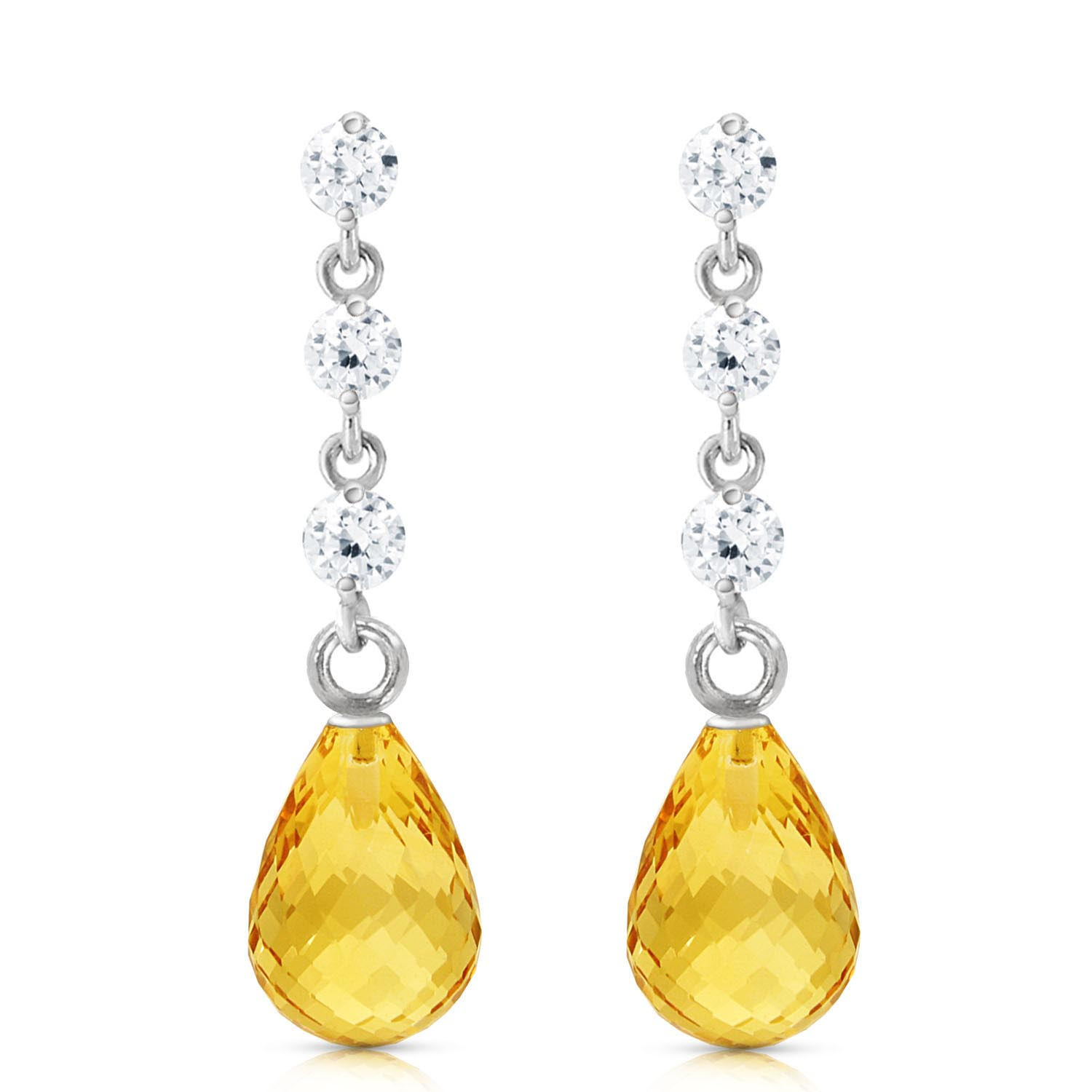 Citrine and Diamond Chain Droplet Earrings 3.0ctw in 9ct White Gold