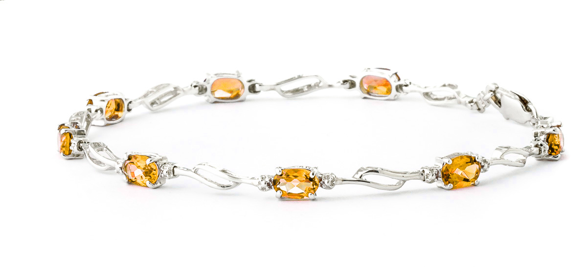 Citrine and Diamond Classic Tennis Bracelet 3.38ctw in 14K White Gold