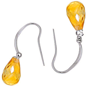 Citrine and Diamond Drop Earrings 4.5ctw in 9ct White Gold