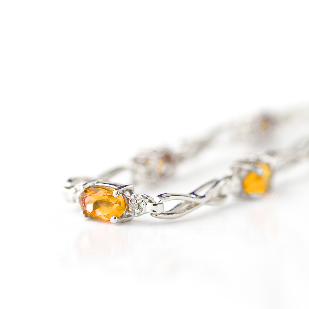 Citrine and Diamond Evert Tennis Bracelet 1.15ctw in 9ct White Gold