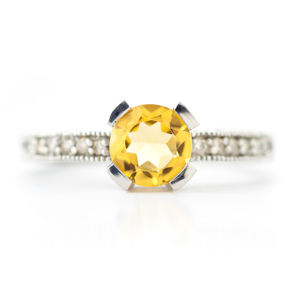 Citrine and Diamond Renaissance Ring 1.5ct in 14K White Gold