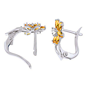Citrine and Diamond Flower Petal Stud Earrings 1.0ctw in 9ct White Gold