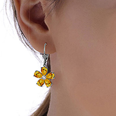 Citrine and Diamond Flower Petal Drop Earrings 4.4ctw in 14K White Gold