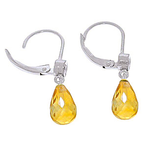 Citrine and Diamond Illusion Drop Earrings 4.5ctw in 14K White Gold