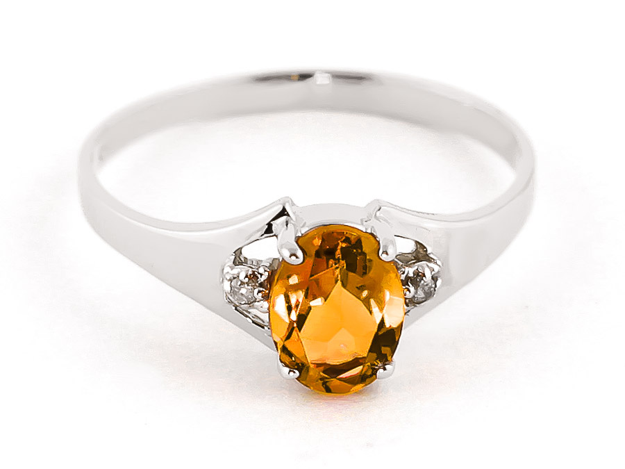Citrine and Diamond Desire Ring 0.75ct in 9ct White Gold