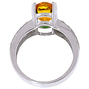 Citrine and Diamond Renaissance Ring 3.0ct in 14K White Gold