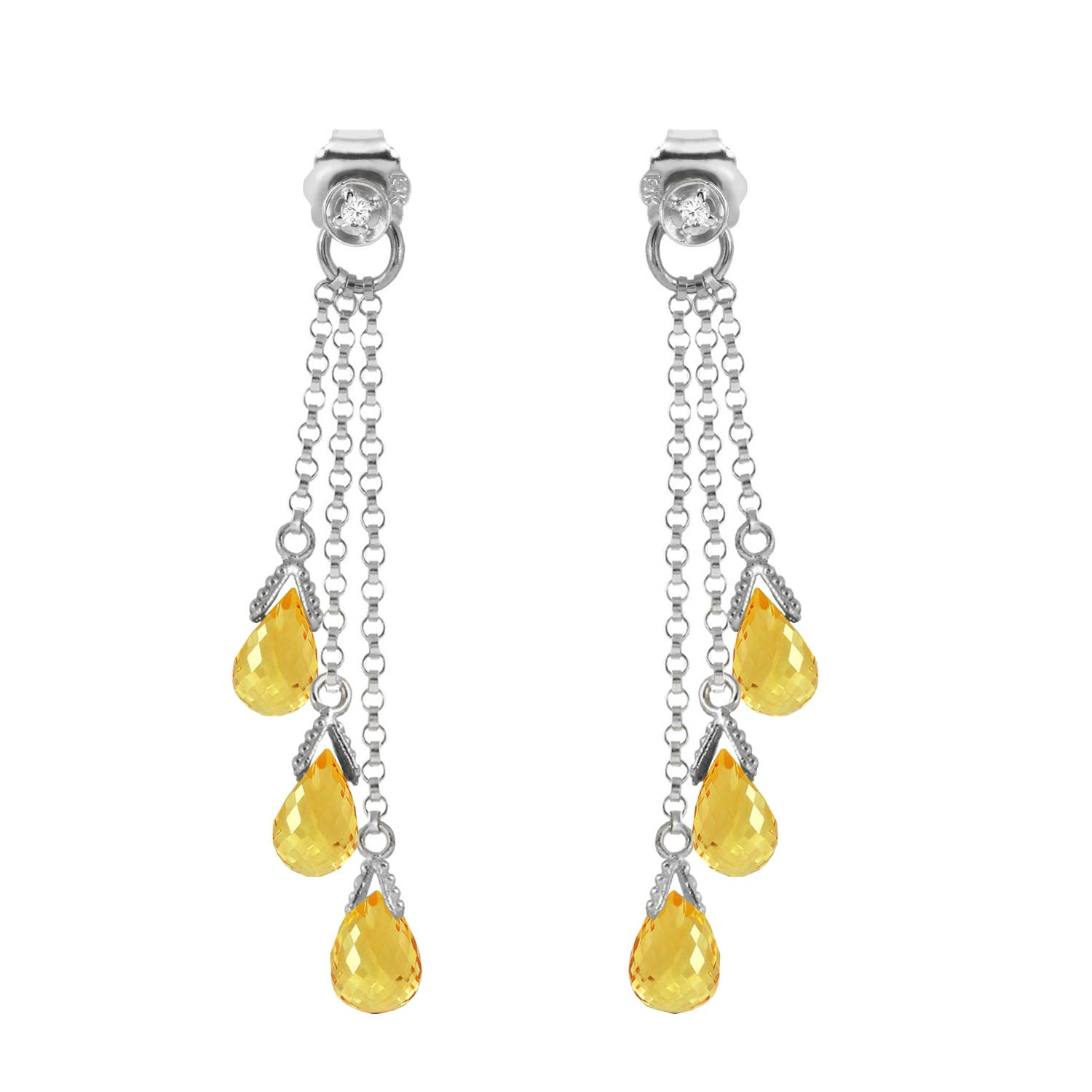 Citrine and Diamond Trilogy Droplet Earrings 7.35ctw in 9ct White Gold