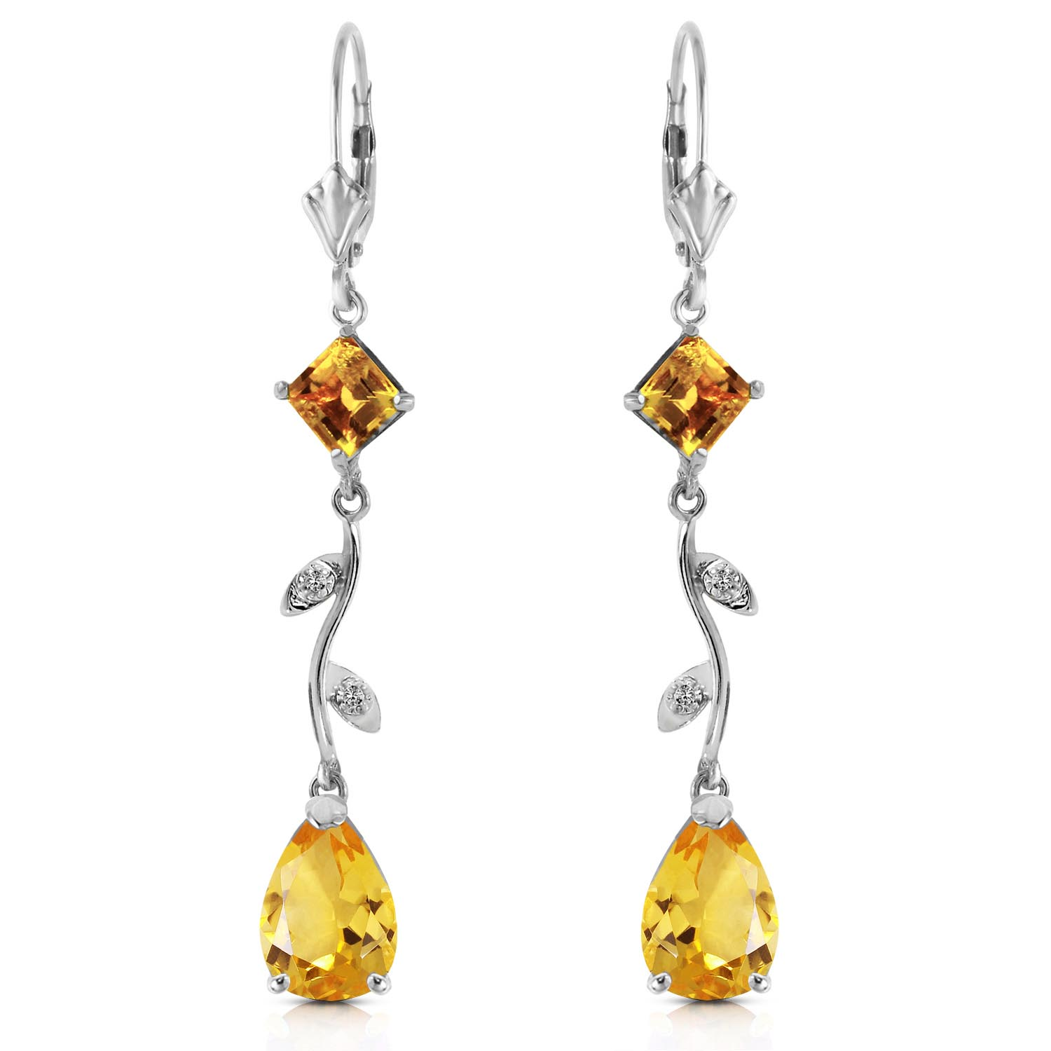 Citrine and Diamond Vine Branch Drop Earrings 3.95ctw in 9ct White Gold