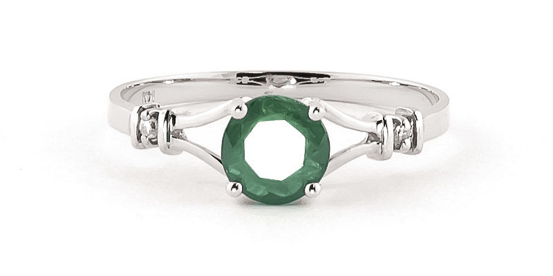 Emerald and Diamond Aspire Ring 0.6ct in 9ct White Gold