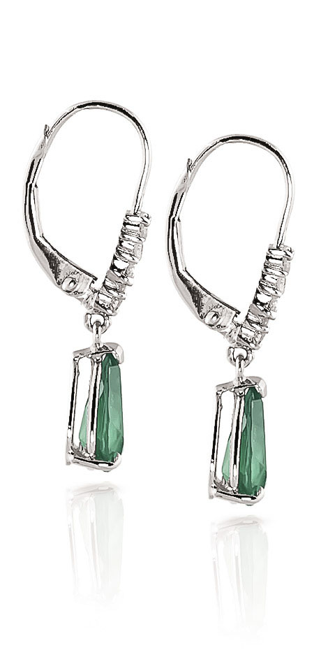 Emerald and Diamond Belle Drop Earrings 2.0ctw in 9ct White Gold