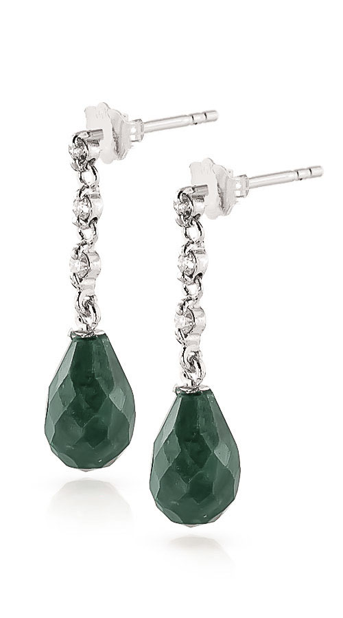 Emerald and Diamond Chain Droplet Earrings 6.6ctw in 9ct White Gold