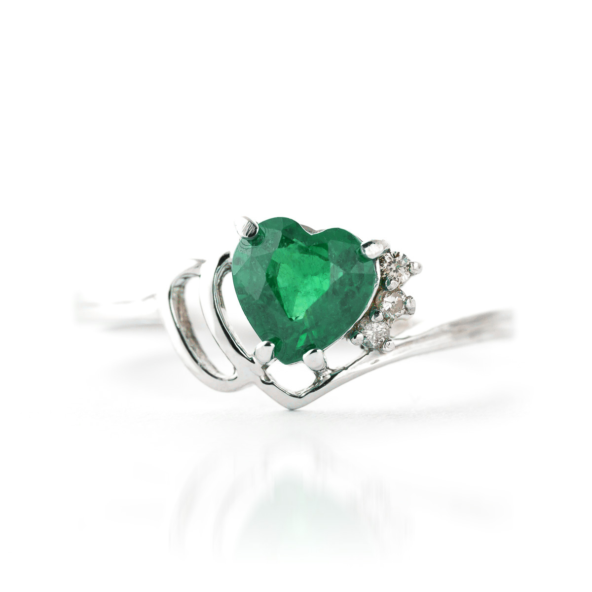 Emerald and Diamond Devotion Ring 1.0ct in 9ct White Gold
