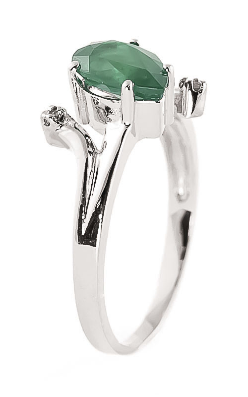 Emerald and Diamond Flank Ring 1.0ct in 14K White Gold