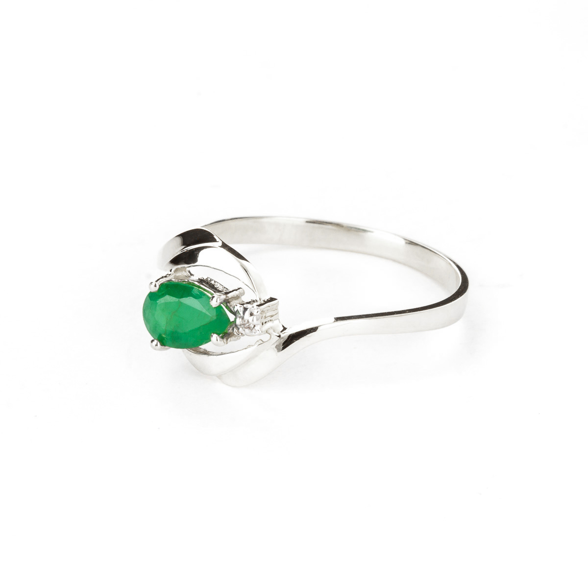Emerald and Diamond Flare Ring 0.5ct in 9ct White Gold