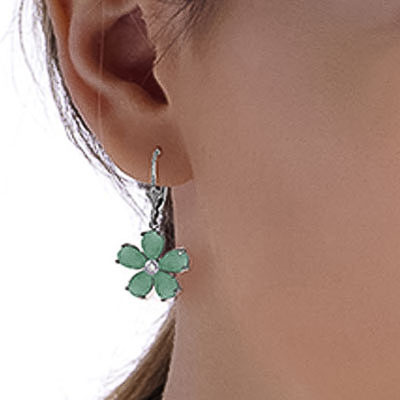 Emerald and Diamond Flower Petal Drop Earrings 4.4ctw in 9ct White Gold