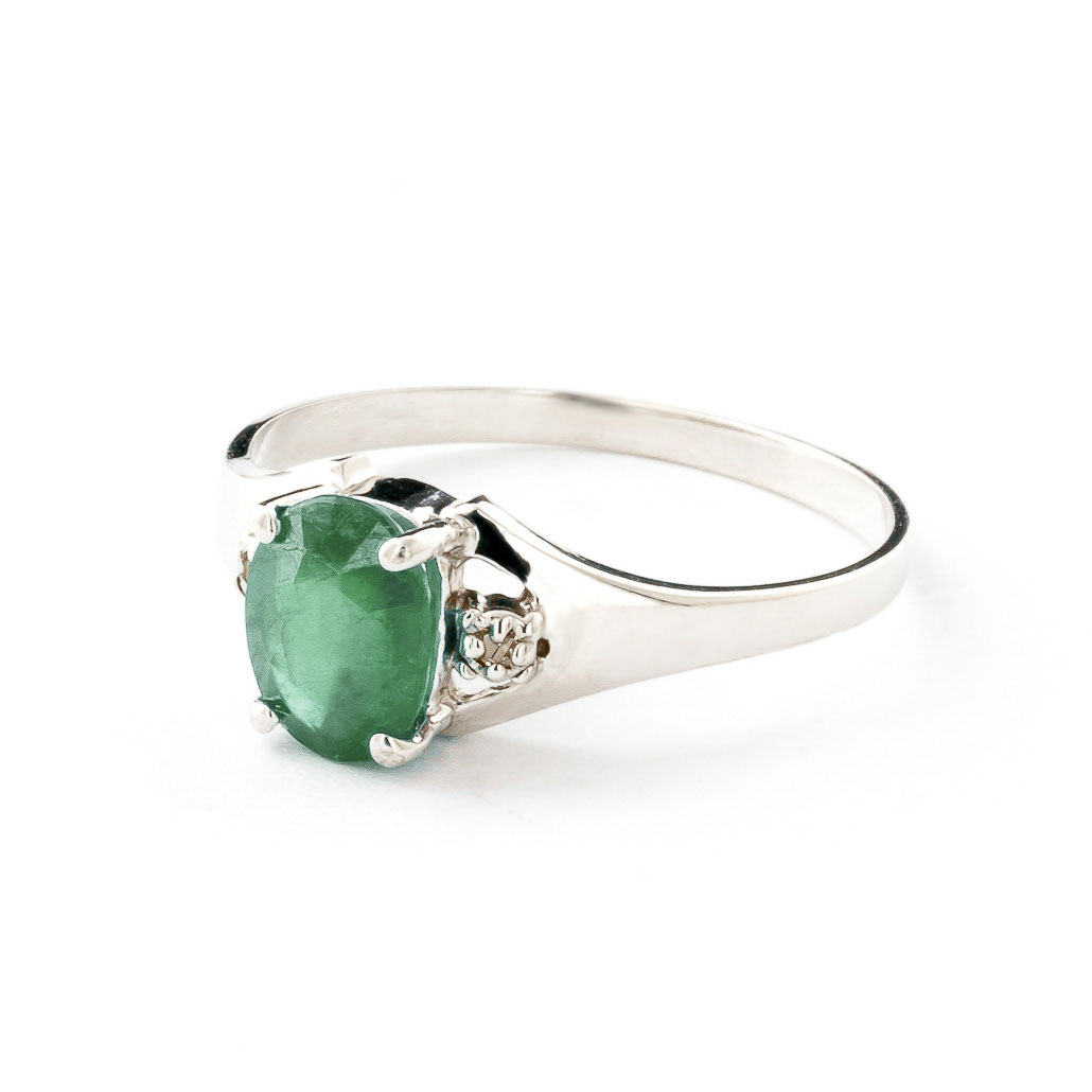 Emerald and Diamond Desire Ring 1.25ct in 14K White Gold