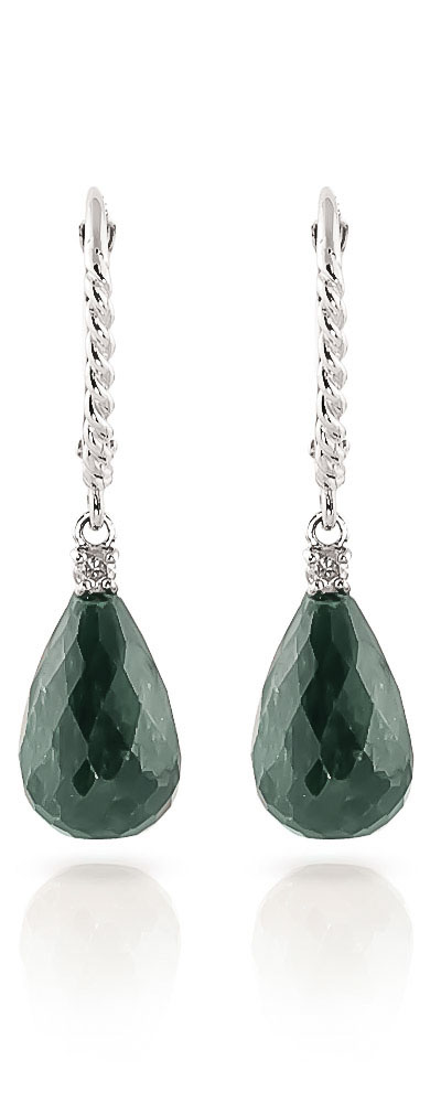 Emerald and Diamond Stem Drop Earrings 17.6ctw in 9ct White Gold