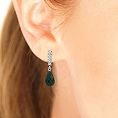 Emerald and Diamond Stem Droplet Earrings 6.6ctw in 9ct White Gold