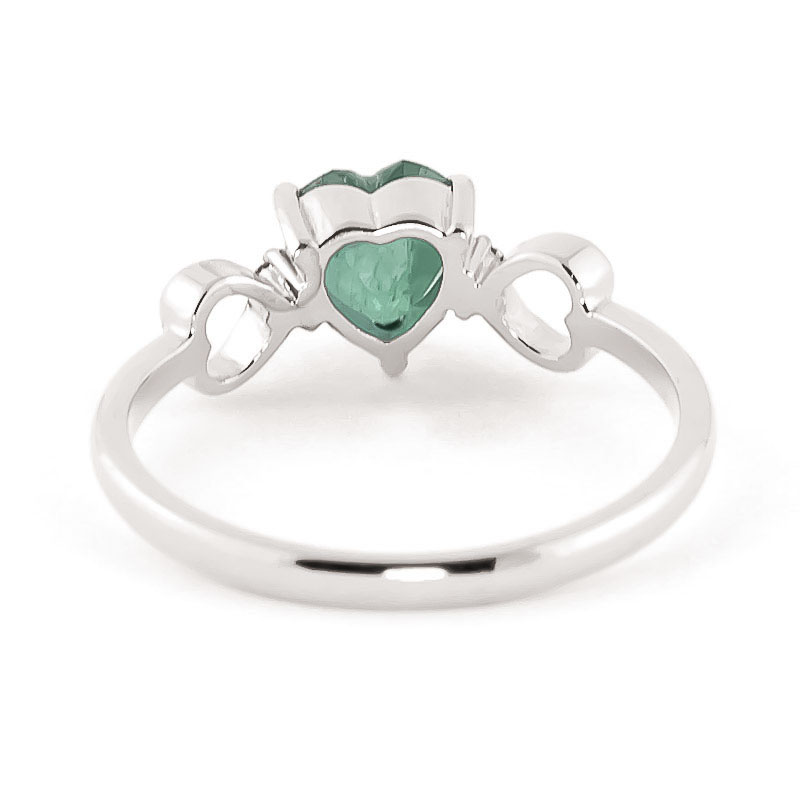 Emerald and Diamond Trinity Ring 1.0ct in 14K White Gold