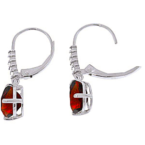 Garnet and Diamond Belle Drop Earrings 3.0ctw in 9ct White Gold