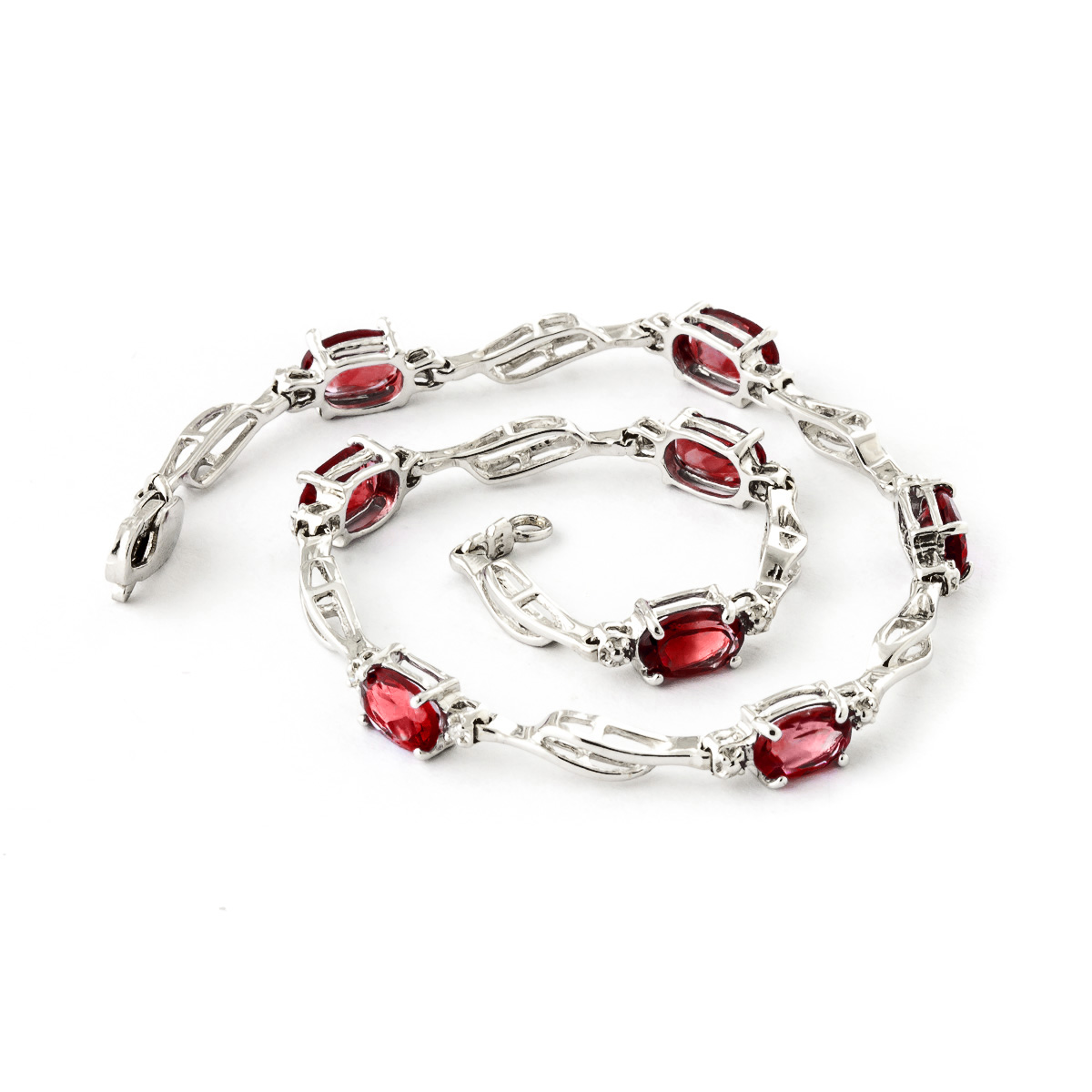Garnet and Diamond Classic Tennis Bracelet 3.38ctw in 9ct White Gold