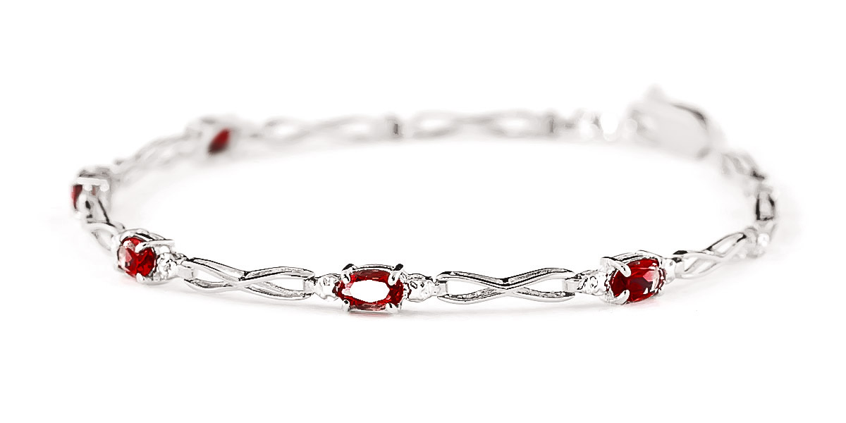 Garnet and Diamond Evert Tennis Bracelet 1.15ctw in 14K White Gold