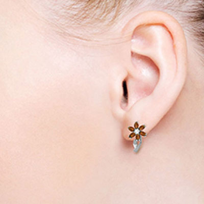 Garnet and Diamond Flower Petal Stud Earrings 1.0ctw in 9ct White Gold