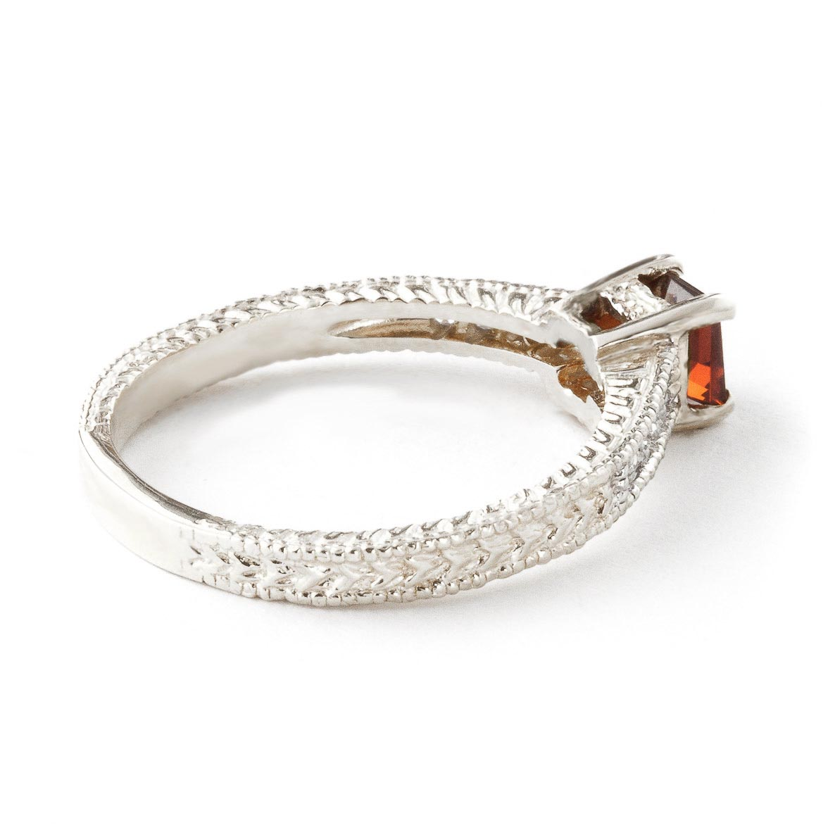 Garnet and Diamond Shoulder Set Ring 0.5ct in 14K White Gold