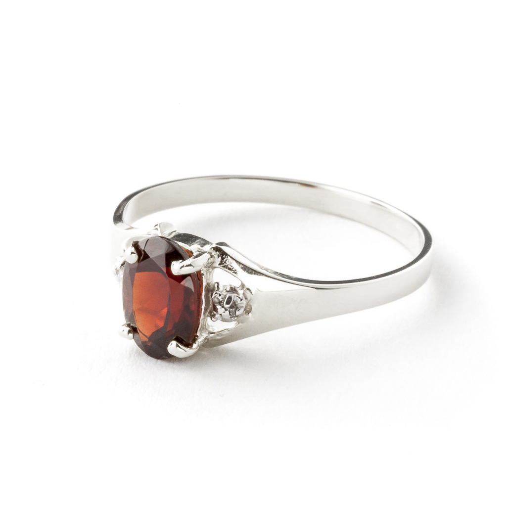 Garnet and Diamond Desire Ring 0.75ct in 14K White Gold