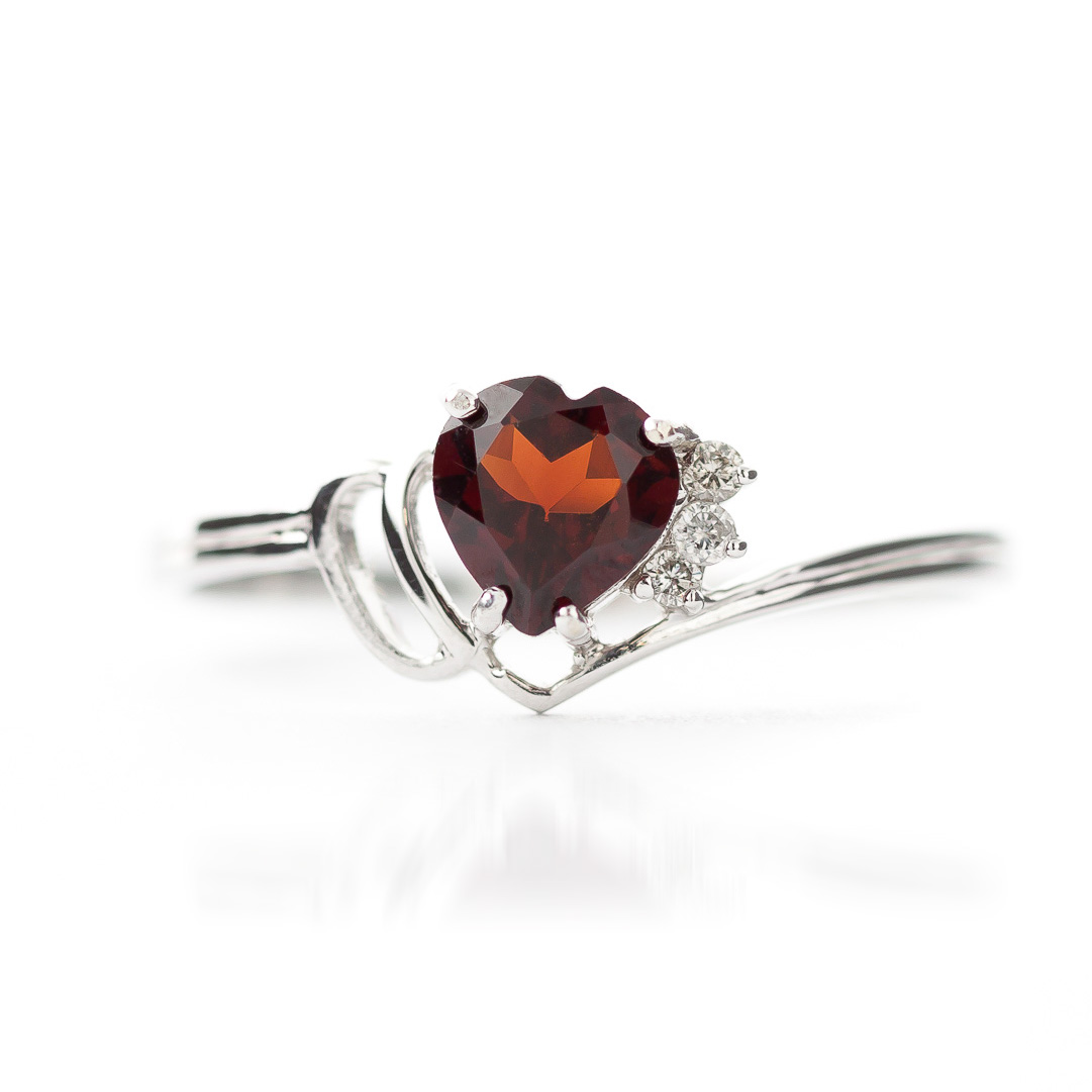 Garnet and Diamond Passion Ring 0.14K in 14K White Gold