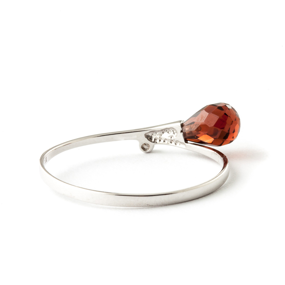Garnet and Diamond Droplet Ring 1.5ct in 9ct White Gold