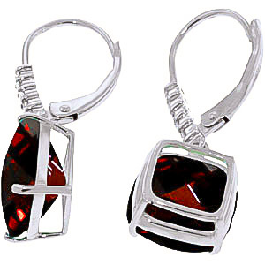 Garnet and Diamond Rococo Drop Earrings 9.0ctw in 14K White Gold