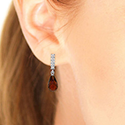 Garnet and Diamond Stem Droplet Earrings 4.5ctw in 14K White Gold