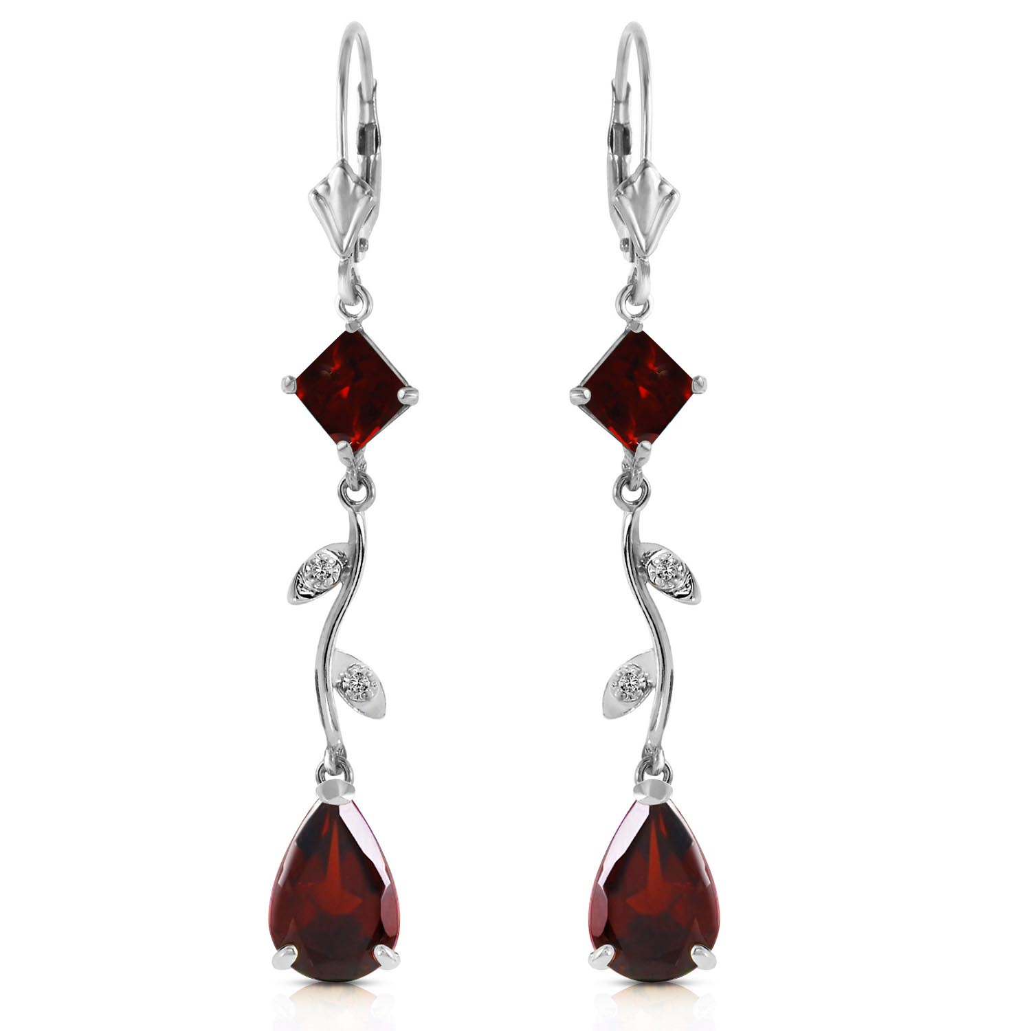 Garnet and Diamond Vine Branch Drop Earrings 3.95ctw in 9ct White Gold