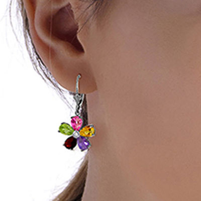 Gemstone and Diamond Flower Petal Drop Earrings 4.4ctw in 9ct White Gold