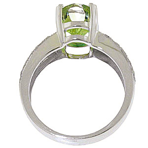 Green Amethyst and Diamond Renaissance Ring 3.0ct in 14K White Gold