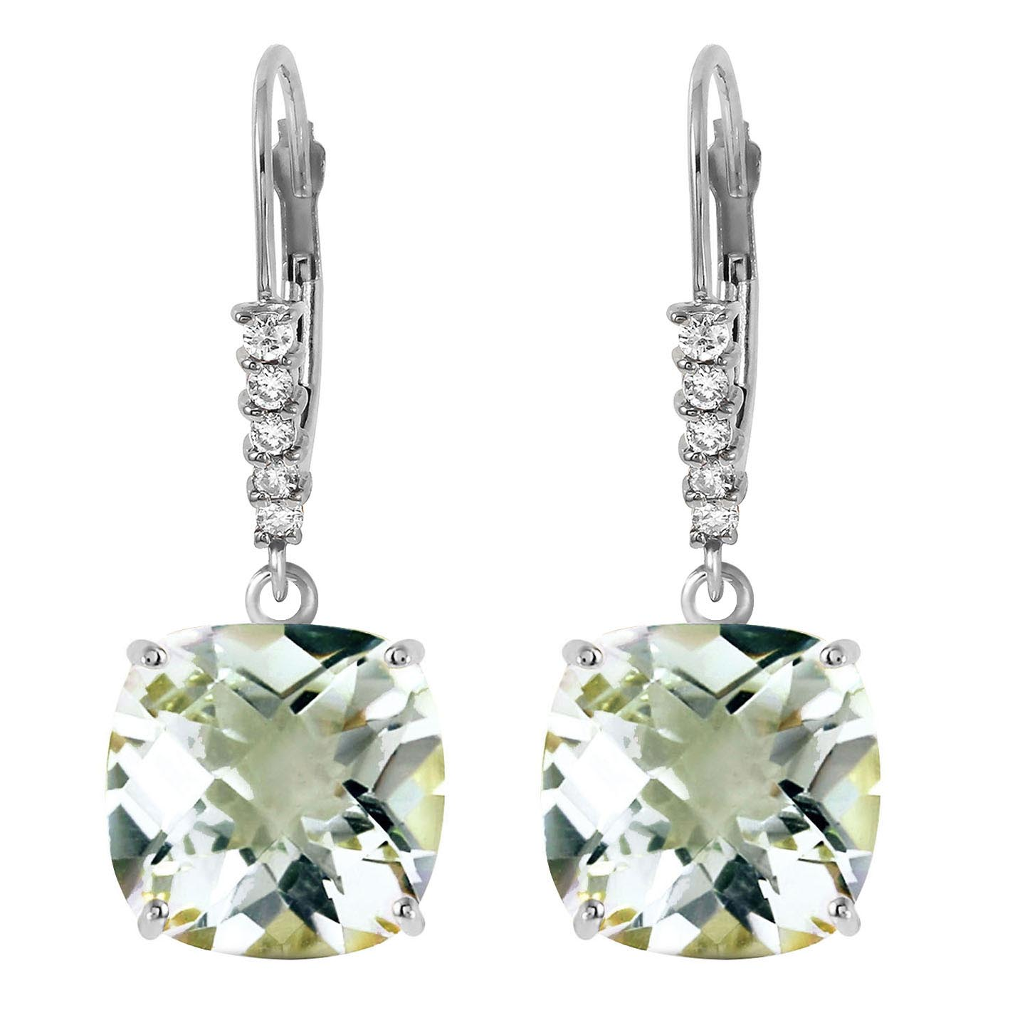 Green Amethyst and Diamond Rococo Drop Earrings 7.2ctw in 9ct White Gold