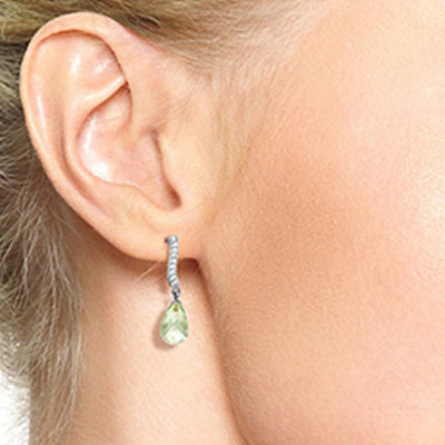 Green Amethyst and Diamond Droplet Earrings 4.5ctw in 9ct White Gold