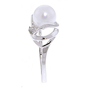 Pearl and Diamond Ring 2.0ct in 9ct White Gold
