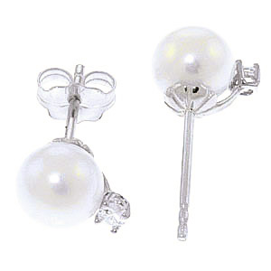 Pearl and Diamond Stud Earrings 4.0ctw in 14K White Gold