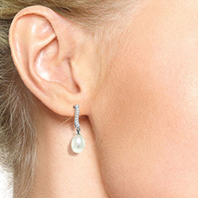 Pearl and Diamond Droplet Earrings 8.0ctw in 14K White Gold