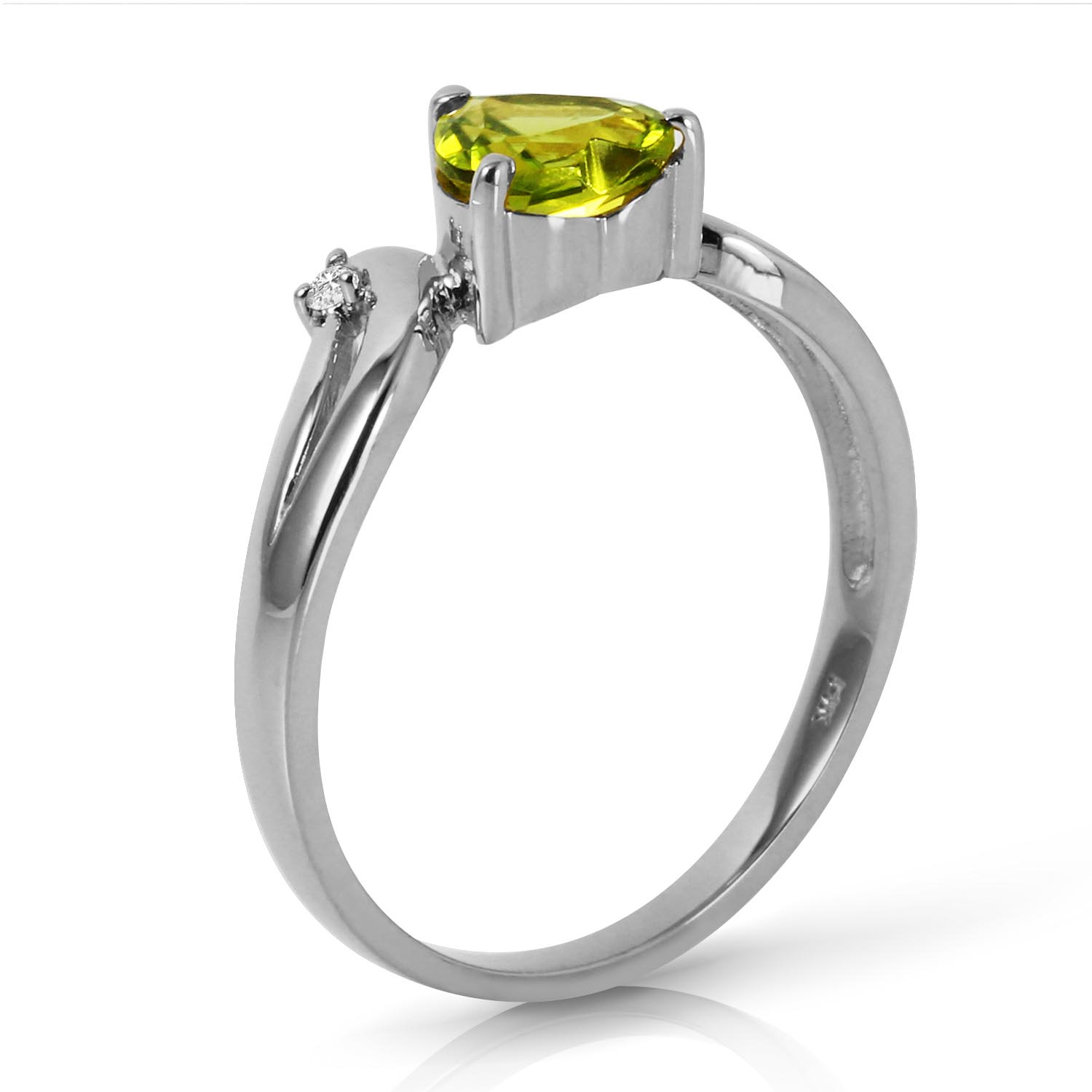 Peridot and Diamond Ring 1.25ct in 14K White Gold