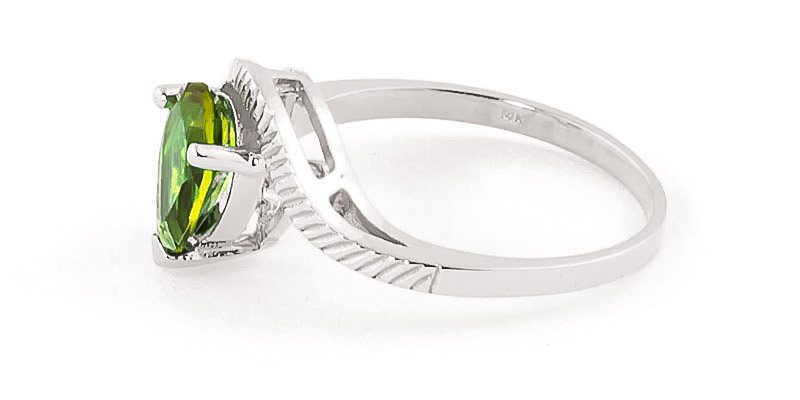 Peridot and Diamond Belle Ring 1.5ct in 9ct White Gold