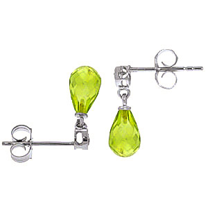 Peridot and Diamond Droplet Earrings 2.7ctw in 14K White Gold