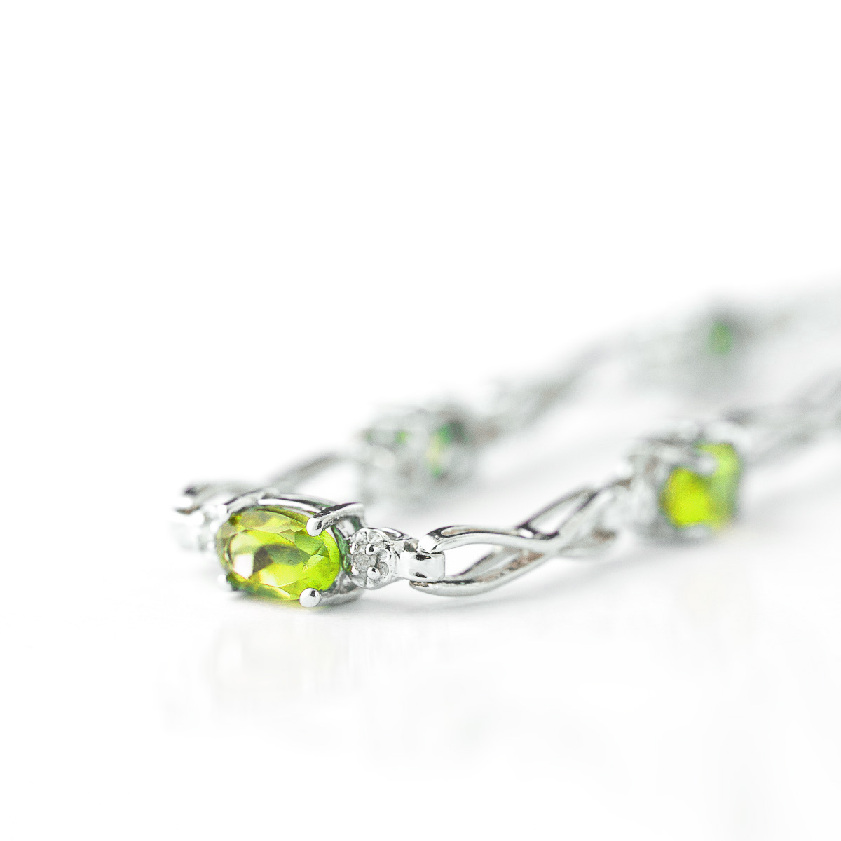 Peridot and Diamond Evert Tennis Bracelet 1.15ctw in 14K White Gold